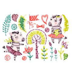 Baby cute zebra girl watercolor nursery vector