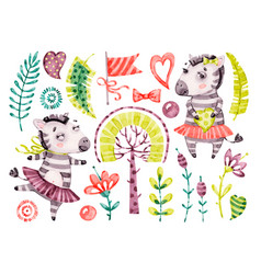 bacute zebra girl watercolor nursery vector image
