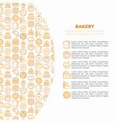 Bakery concept with thin line icons vector