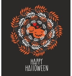Banner with the cute pumpkins and round shaped vector