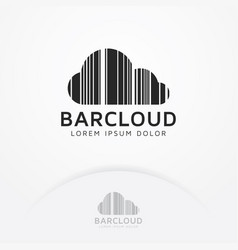 bar code cloud logo design vector image