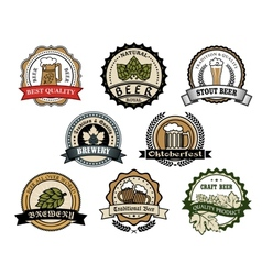 Brewery and beer labels vector image