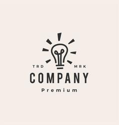 Bulb lamp smart idea think hipster vintage logo vector