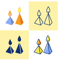 burning cone candles icon set in flat and line vector image
