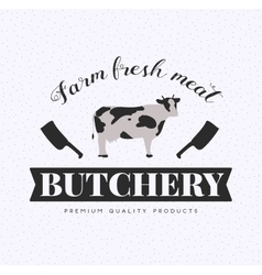 Butcher Shop Logo Meat Label Template with Cow vector