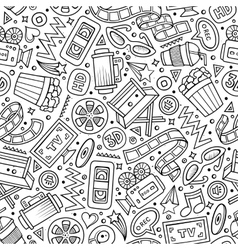 Cartoon cute hand drawn Cinema seamless pattern vector image