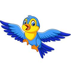 cartoon happy little bird flying vector image