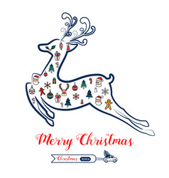 christmas line art color icons set in reindeer vector image