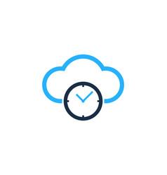 cloud time logo icon design vector image
