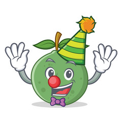 Clown guava mascot cartoon style vector
