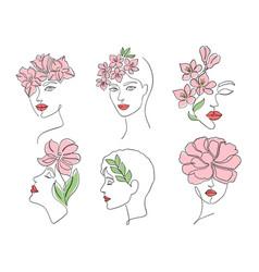 Collection women faces vector