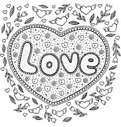 Coloring page for adults with mandala and love vector