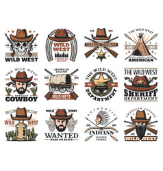 cowboy and western sheriff skulls wild west icons vector image