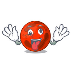 Crazy mars planet mascot cartoon vector