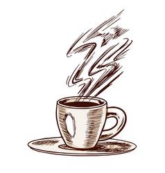 cup espresso coffee in vintage style hand vector image