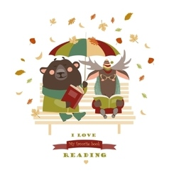 Cute bear and funny elk reading books on bench vector image