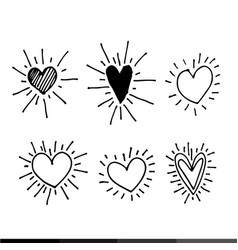 different graphic hearts design vector image