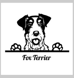 dog head fox terrier breed black and white vector image
