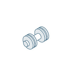 dumbbell sport gym isometric icon 3d line art vector image