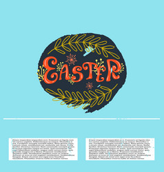 easter banner with lettering text and vector image