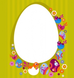 Easter card with retro frame vector