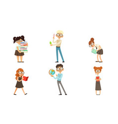 funny boys and girls nerds collection smart vector image