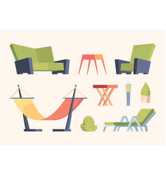 garden decoration modern furniture for relax time vector image