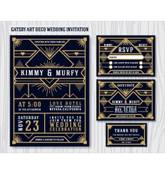 gatsart deco wedding invitation design vector image