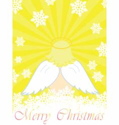gold christmas card with baby angel vector image