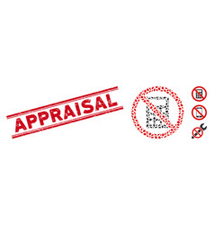 Grunge appraisal line seal and mosaic no vector