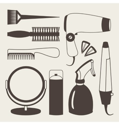 Hair accessories and barber tools grey icons vector
