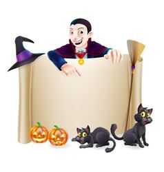 Halloween dracula banner vector