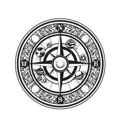 hand drawn of vintage compass and planets of vector image