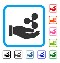 Hand give ripple framed icon vector