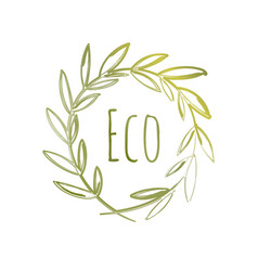 handdrawn eco label vector image