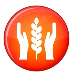 Hands and ear of wheat icon flat style vector