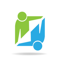 Handshake symbolic business logo vector