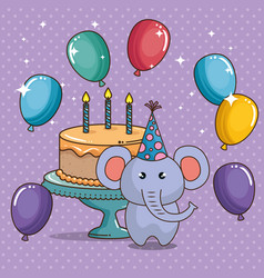 happy birthday card with cute elephant vector image