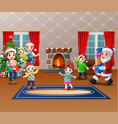 Happy santa claus holding a gifts to give a family vector