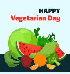 happy vegetarian day concept background cartoon vector image