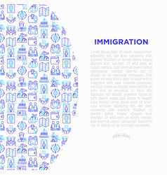 immigration concept with thin line icons vector image