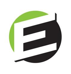 initial logo e inside circle negative space logo vector image