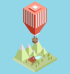 Isometric air balloon vector