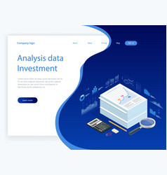 isometric analysis data and investment stack of vector image