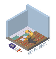 Isometric interior repairs concept the repairer vector