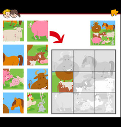 jigsaw puzzles with funny farm animals vector image