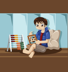 Kid playing with abacus vector
