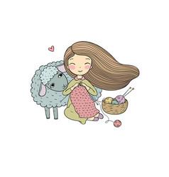 Knitting girl and a cute cartoon sheep vector