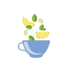 Lemon Tea In Blue Cup vector