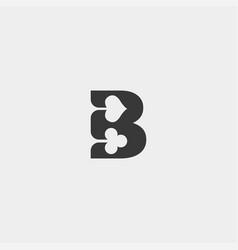 Letter b poker logo design template icon element vector